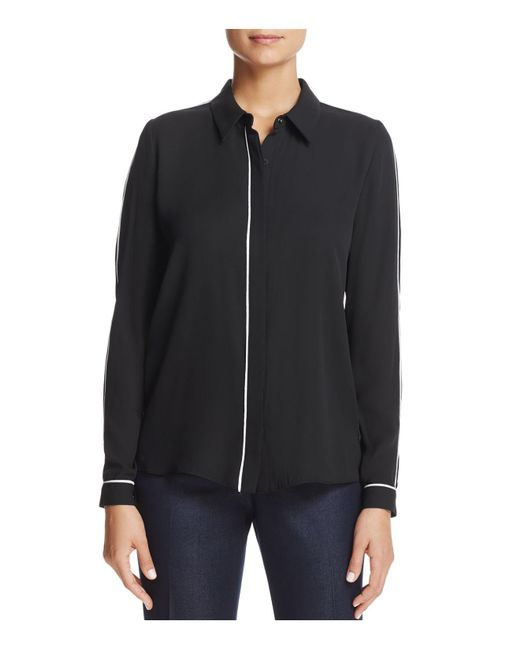 T Tahari   Black Tyra Piped Button-down Top   Lyst