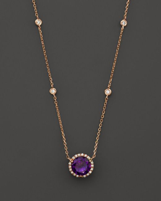 """Bloomingdale's - Metallic Amethyst And Diamond Halo Pendant Necklace With 4 Stations In 14k Rose Gold, 16"""" - Lyst"""