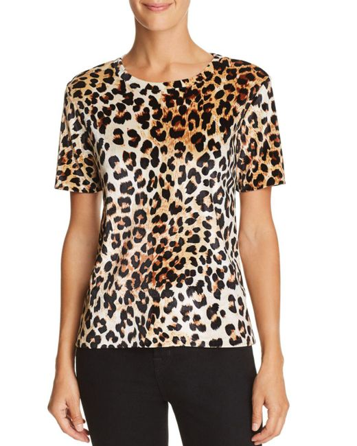 Aqua - Black Leopard Print Velvet Tee - Lyst