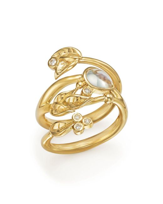Temple St. Clair - Metallic 18k Yellow Gold Royal Blue Moonstone And Diamond Leaf Ring - Lyst