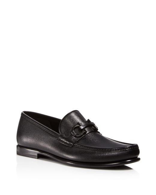 Ferragamo - Black Men's Crown Gancini Bit Loafers for Men - Lyst