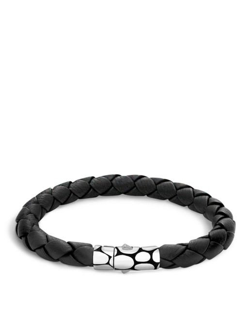 John Hardy - Men's Kali Silver Black Woven Leather Bracelet for Men - Lyst