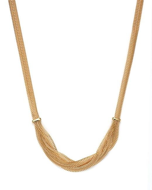 "Bloomingdale's - Metallic 14k Yellow Gold Braided Mesh Necklace, 17"" - Lyst"