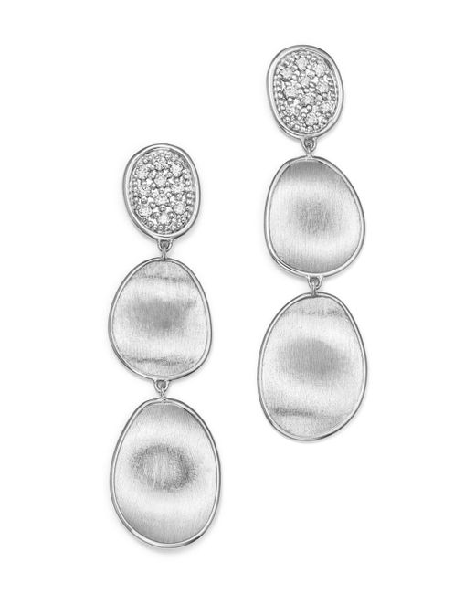 Marco Bicego - 18k White Gold Lunaria Diamond Triple Drop Earrings - Lyst