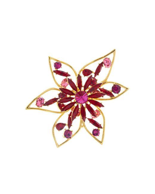 Oscar de la Renta - Red Crystal Abstract Flower Brooch - Lyst