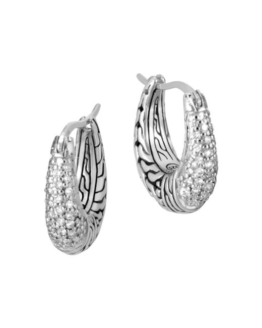 John Hardy - Metallic Sterling Silver Classic Chain Pavé Diamond Hoop Earrings - Lyst