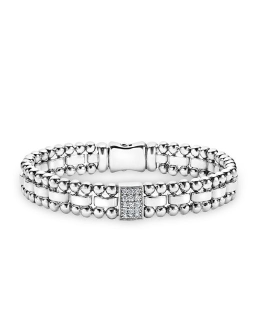 Lagos | Metallic Sterling Silver Caviar Spark Diamond Rectangle Link Bracelet | Lyst