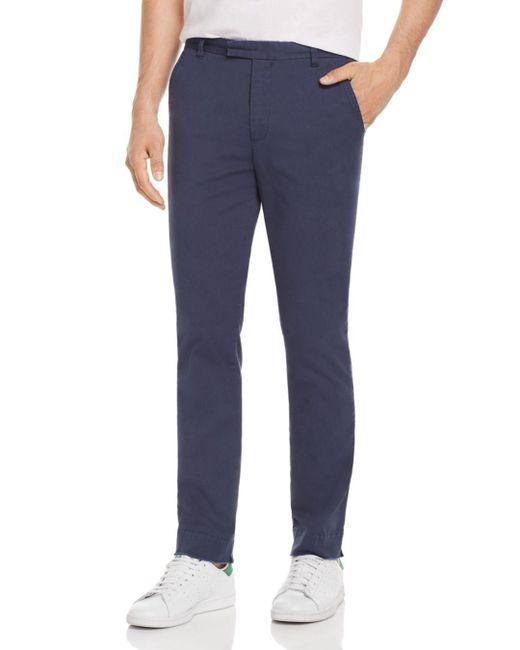 ATM Blue Stretch Canvas Slim Fit Pants for men