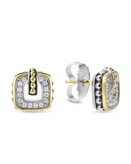 Lagos - Black Sterling Silver Classic Stud Earrings With 18k Gold And Diamonds - Lyst