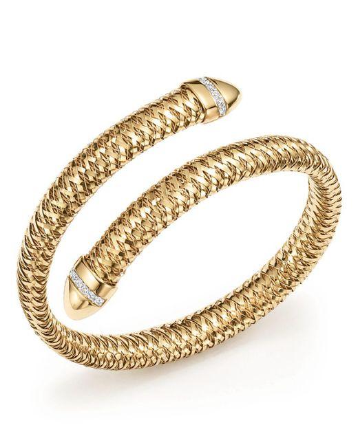 Roberto Coin - Metallic 18k Yellow And White Gold Primavera Flex Cuff Bracelet With Diamonds - Lyst