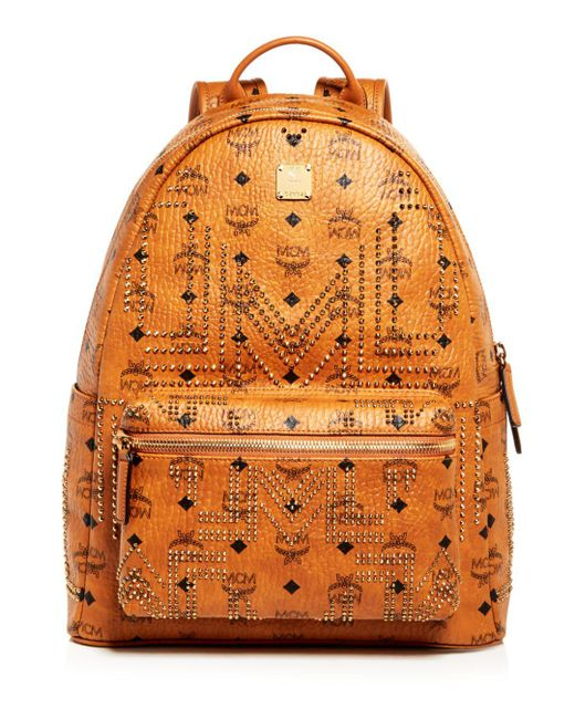 MCM - Orange Stark Gunta Medium Studded Backpack for Men - Lyst