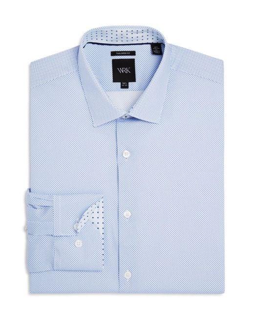 W.r.k. | Blue Shadow Dot Print Slim Fit Stretch Dress Shirt for Men | Lyst