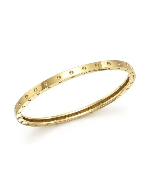 Roberto Coin | Metallic 18k Yellow Gold Symphony Dotted Bangle Bracelet | Lyst