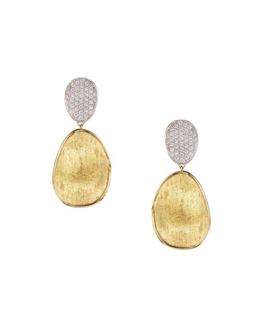 Marco Bicego | Metallic Diamond Lunaria Two Drop Small Earrings In 18k Gold | Lyst
