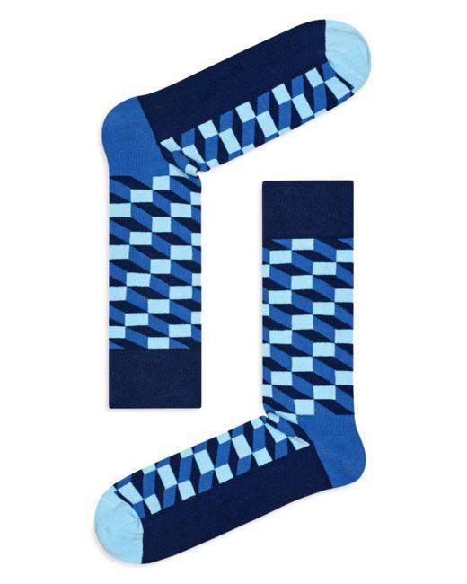Happy Socks - Blue Filled Optic Socks for Men - Lyst