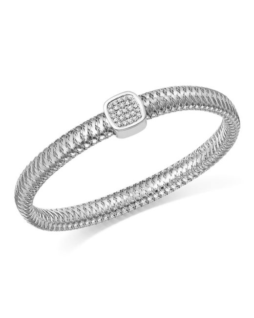 Roberto Coin - 18k White Gold Primavera Pavé Diamond Square Bangle - Lyst