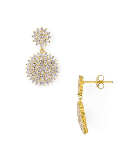 Argento Vivo | Metallic Round Pavé Double Drop Earrings | Lyst