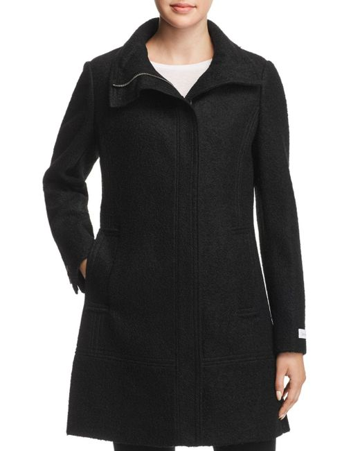 Calvin Klein - Black Seamed Bouclé Coat - Lyst