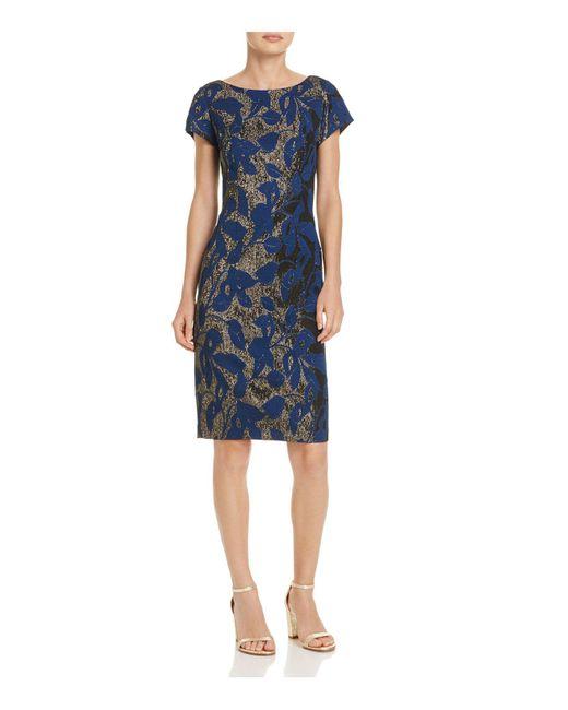 Adrianna Papell | Blue Metallic Jacquard Sheath Dress | Lyst