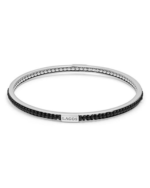 Lagos - Metallic Sterling Silver Caviar Icon Onyx Beaded Bangle Bracelet - Lyst