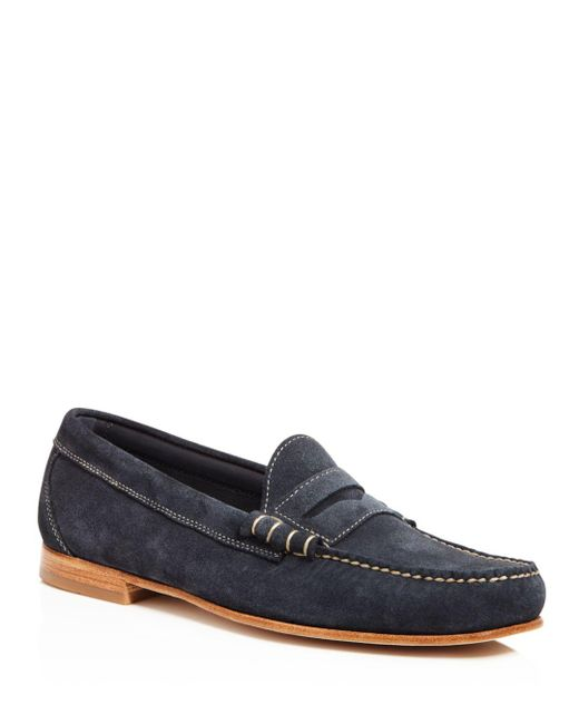 G.H.BASS - Blue Larry Suede Penny Loafers for Men - Lyst
