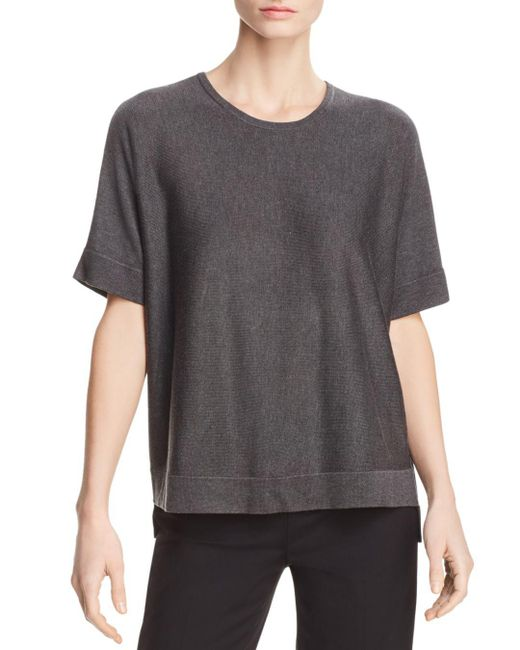 Eileen Fisher - Gray Lightweight Short-sleeve Sweater - Lyst