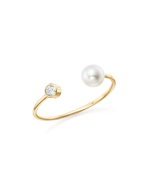 Zoe Chicco - Metallic 14k Yellow Gold Diamond Bezel And Cultured Freshwater Pearl Bypass Ring - Lyst