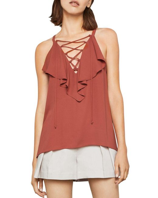 BCBGMAXAZRIA - Red Ruffled Lace-up Top - Lyst