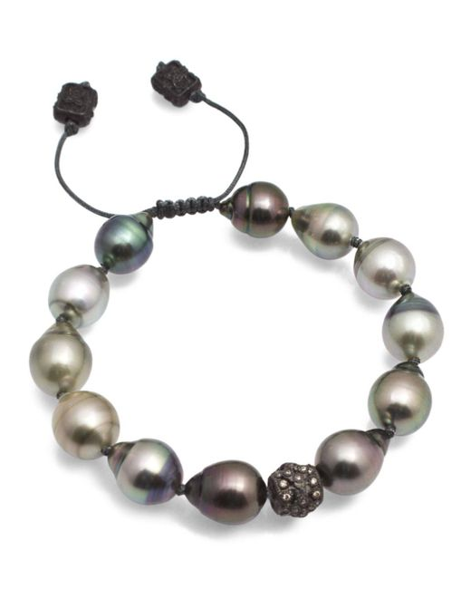 Armenta - Metallic Old World Midnight Tahitian South Sea Pearl And Champagne Diamond Beaded Cord Bracelet - Lyst