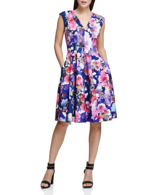 Donna Karan - Blue New York Watercolor-floral Dress - Lyst