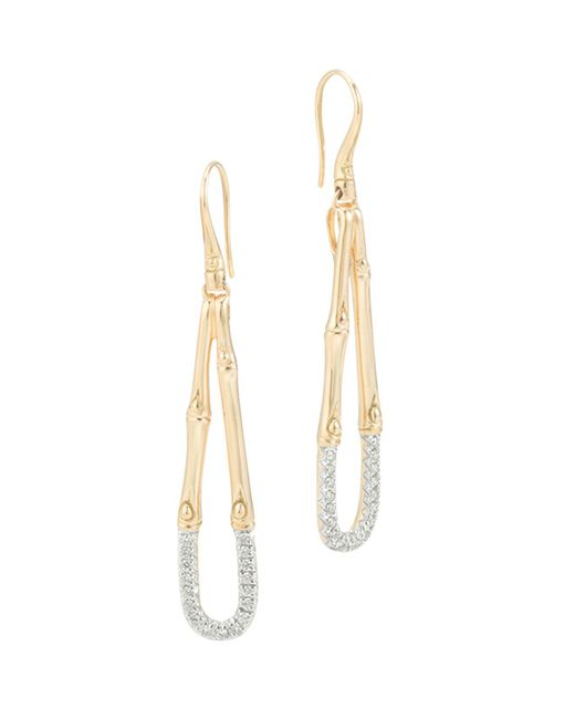 John Hardy - Metallic Bamboo 18k Gold And Diamond French Wire Earrings - Lyst