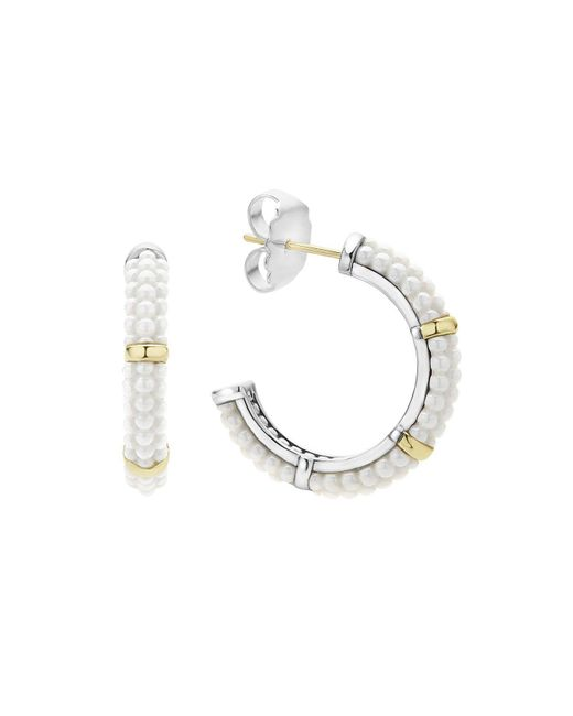 Lagos | Metallic 18k Gold And Sterling Silver White Caviar Hoop Earrings | Lyst