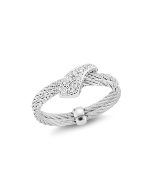 Alor - Metallic Diamond Twisted Ring - Lyst