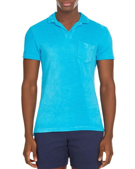 Orlebar Brown - Blue Terry Towel Polo Shirt for Men - Lyst