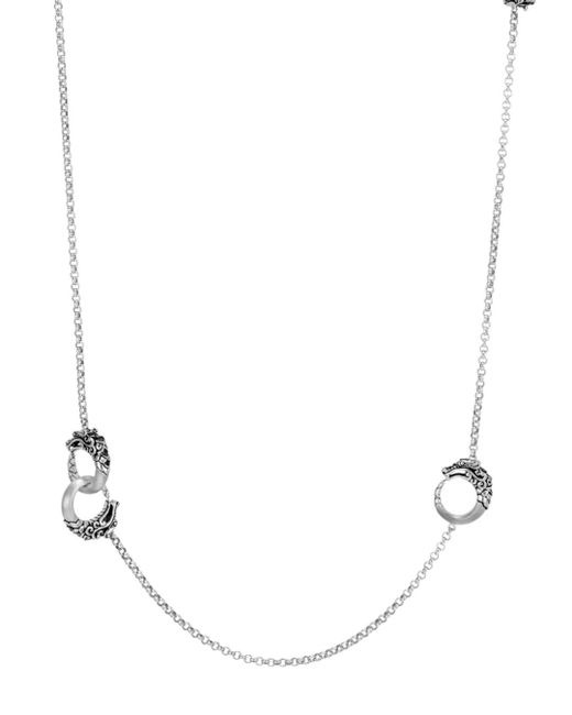"John Hardy - Metallic Brushed Sterling Silver Legends Naga Round Chain Necklace With Black Spinel, 36"" - Lyst"