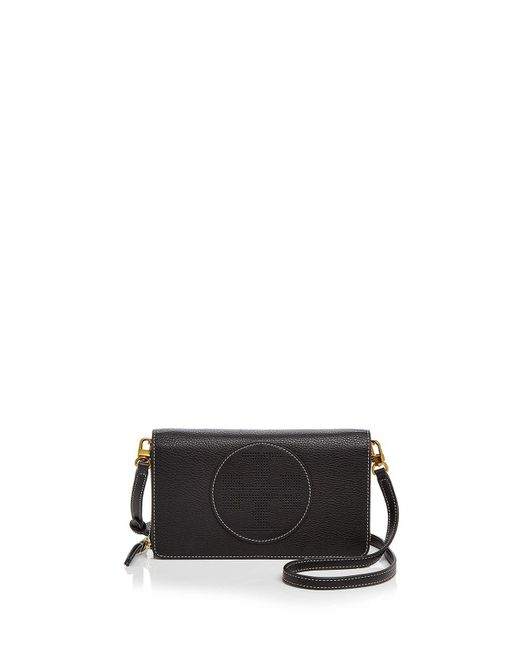 Tory Burch | Black Perforated Logo Flat Leather Wallet Crossbody | Lyst