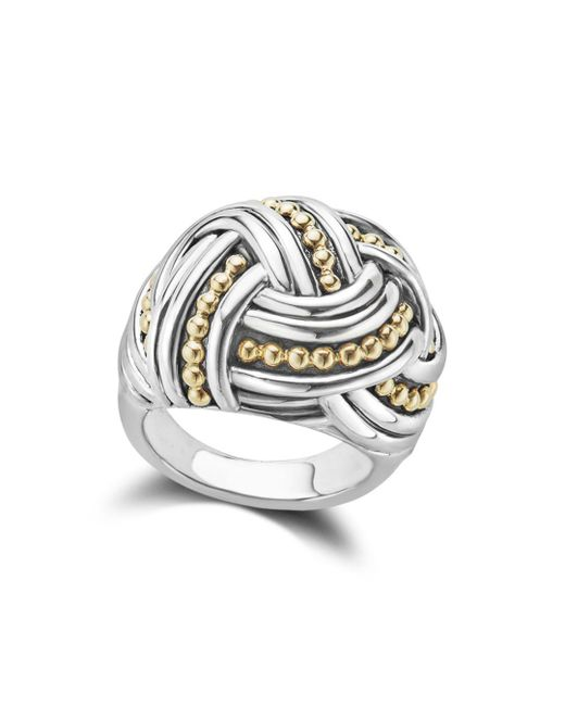 Lagos - Metallic 18k Gold & Sterling Silver Torsade Large Round Ring - Lyst