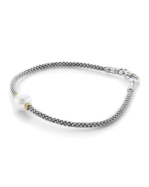 Lagos - Metallic 18k Gold And Sterling Silver Luna Rope Bracelet With Cultured Freshwater Pearl - Lyst