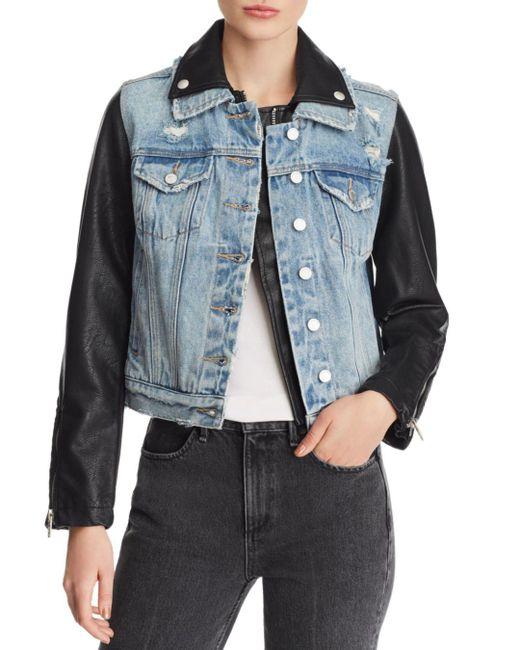 Blank NYC - Blue Denim & Faux Leather Jacket - Lyst