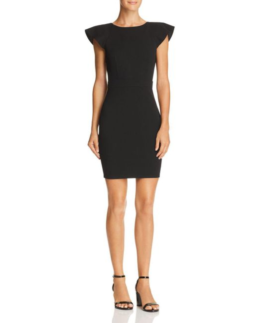 Aqua - Black Ruffled V-back Body-con Dress - Lyst