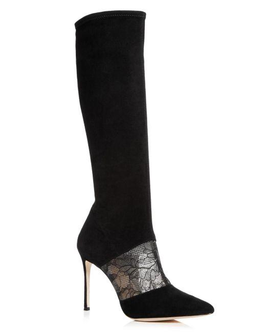 Pour La Victoire - Black Women's Ceri Suede & Lace Tall Boots - Lyst