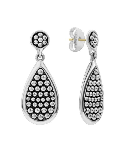 Lagos - Metallic Sterling Silver Bold Caviar Teardrop Earrings - Lyst