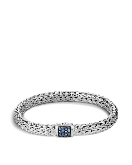 John Hardy | Classic Chain Sterling Silver Lava Medium Bracelet With Blue Sapphires | Lyst
