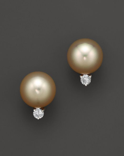 Bloomingdale's - Metallic Diamond And Golden South Sea Pearl Earrings In 14k Yellow Gold, 10mm - Lyst