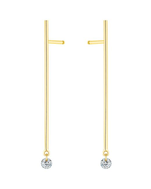 La Brune Et La Blonde | Metallic 18k Yellow Gold Small Majorette Diamond Stick Drop Earrings | Lyst