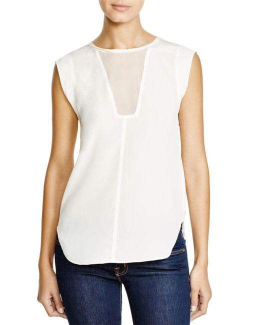 Rebecca Taylor - White Charlie Silk Top - Lyst