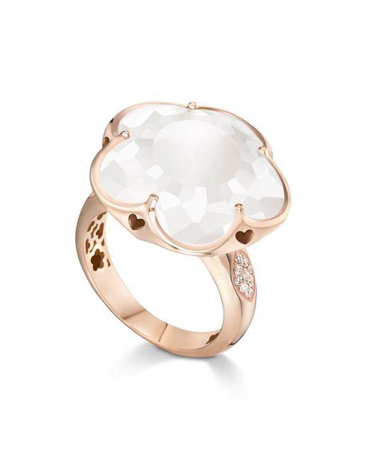 Pasquale Bruni - Multicolor 18k Rose Gold Floral Milky Quartz Ring With Diamonds - Lyst