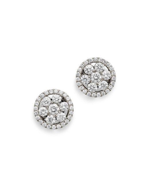 Roberto Coin - 18k White Gold Diamond Round Cluster Earrings - Lyst