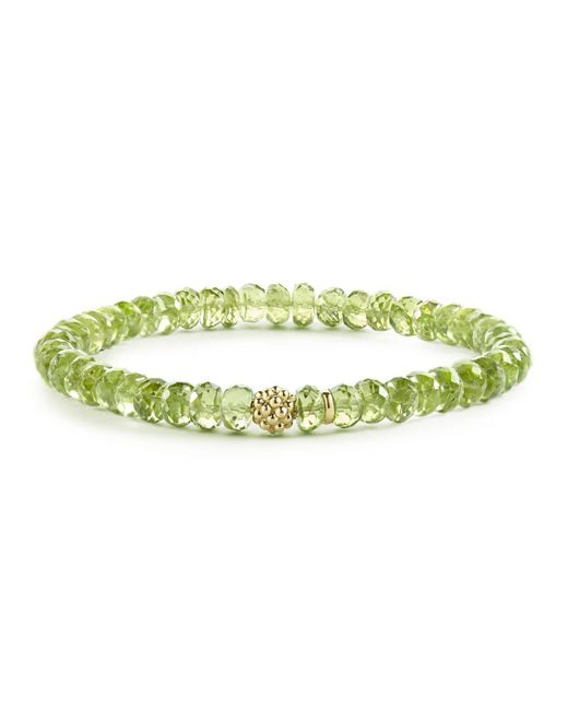 Lagos - Green Caviar Icon Peridot Bracelet With 18k Gold Caviar Station - Lyst