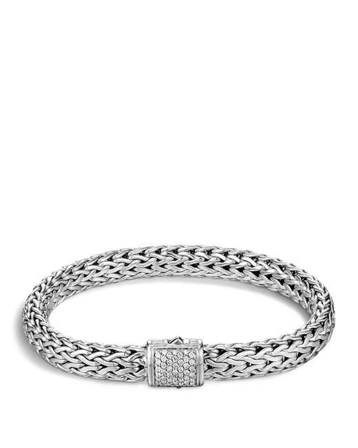 John Hardy - Metallic Classic Chain Sterling Silver Medium Bracelet With Diamond Pavé - Lyst